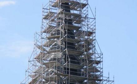 Steel scaffolding on civil building